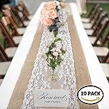 Chemin de Table en Toile de Jute avec Dentelle 30 x 275 cm Pour Festival Fête Cérémonie Décorations de Cas Banquet de Mariage (10 pcs)