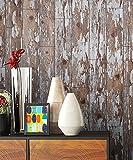 Holz Muster Tapete Beige Grau Braun Edel | schöne edle Tapete im Holzwand Design | moderne Vertäfelung Optik für Wohnzimmer, Schlafzimmer oder Küche inkl. Newroom Tapezier Profibroschüre