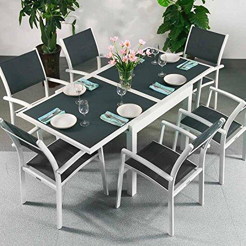 Ruby Tisch und 6 Milly Stühle - WEIß & GRAU | Ausziehbarer 180cm Esstisch mit passenden Stühlen (Ausziehbarer Esstisch Stühle)