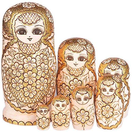 Hrph Neue 7pcs / Set hölzerne russische Verschachtelungs-Puppen getrocknetes Basswood-traditionelle authentische handgemachte Matryoshka Puppe scherzt Geschenk Verschachtelungs-puppen 12