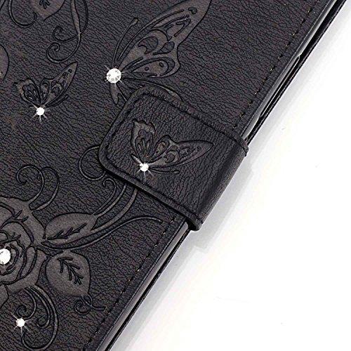 iPhone Case Cover Rhinestone geprägte Blumen PU-lederner Kasten-Mappen-Kasten mit Handbügel für iPhone 7 plus ( Color : Rose Red , Size : IPhone 7 Plus ) Black