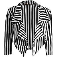 New Womens Black White Striped Crop Waterfall Blazer Ladies Casual Jacket Coat Stripe Blazer, Black and White Stripe, M…