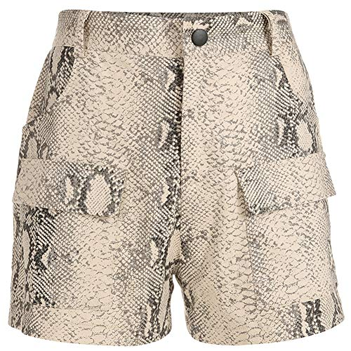 Damen Snake Printing Lässige Hight Taille Shorts Loose Fit Twill Mode Cargo Shorts Overall,Brown,S -
