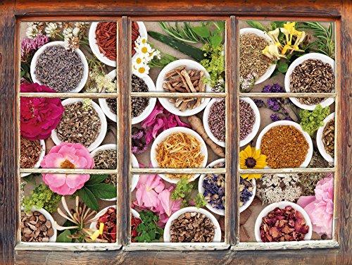 Ayurveda-kräuter-heilmittel (Heilende Kräuter und Blumen Fenster im 3D-Look , Wand- oder Türaufkleber Format: 62x42cm, Wandsticker, Wandtattoo, Wanddekoration)