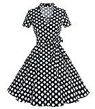 Timormode Robe Années 50's Audrey Hepburn Rockabilly Swing,Plissé Robe à Manches Courtes 10084Black Dots L