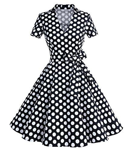 Timormode Robe Années 50's Audrey Hepburn Rockabilly Swing,Plissé Robe à Manches Courtes 10084Black Dots 3XL