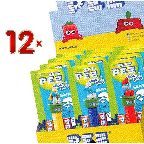 pez-figurine-les-smurfs-et-2-refill-12-stck-packung-die-schlumpfe-spender-mit-zwei-bonbon-nachfullpa