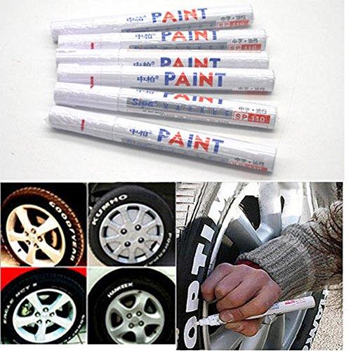 EMOTREE 6 x Weiß Reifenmarkierstift Reifenmarker Reifenmarkierungsstift Auto Motorrad KFZ Reifen Stift