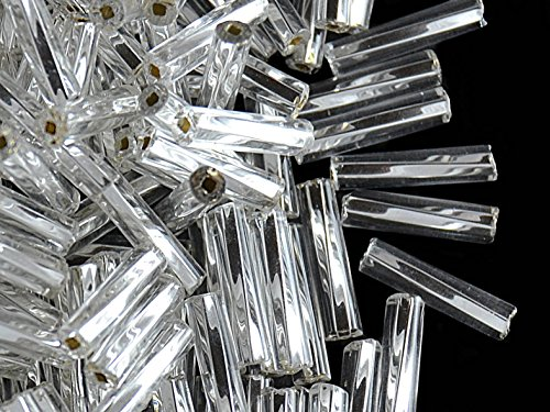 Bugles TW-SH - 20gr (ca. 360 stk) Preciosa Tschechische Glasperlen Signalhörner verdreht Sechskantprofil mit quadratischem Loch und Größe 9x2,1 mm, Farbe: Crystal Clear Silver Lined