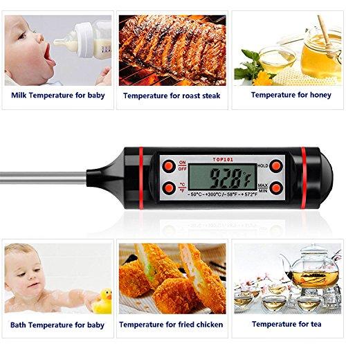+ Termometro digitale da Cucina, Schermo LCD, Auto-Spegnimento, Lunghezza sonda 5,9″, anti corrosione, adatto per carne,barbecue,latte e per misurare la temperatura dell'acqua e dei liquidi in genere. comprare on line