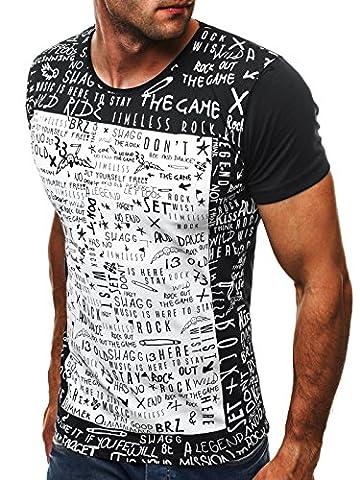 OZONEE Herren T-Shirt mit Motiv Kurzarm Rundhals Figurbetont BREEZY 9055 SCHWARZ L