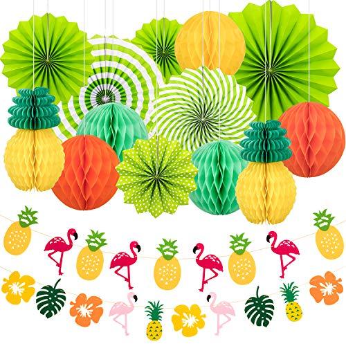 Whaline 15 Stück Sommer Party Deko Set Hängende Papierfächer Ananas und Flamingo Blume Girlande Banner für Hawaiian Luau Strand Geburtstag Hochzeit Foto Hintergrund -