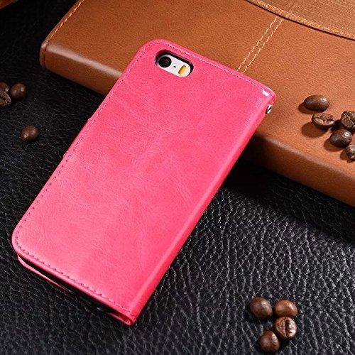 iPhone Case Cover Normallackmuster-Mappenartkasten magnetisches entwerfen Flipfolio PU-Lederabdeckung standup Abdeckungsfall für iPhone 5 SE 5S ( Color : Red , Size : Iphone 5S SE ) Red