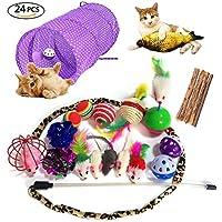 Moonlight Tech - Juego de 24 Piezas de Juguetes para Gato, túnel de Gato y Gato, para Pesca interactiva con Plumas, Peluca de Pelo, Peluche, ratón, Pelotas de Arrugas para Gato, Cachorro, Gatito