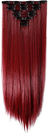 (70cm -Straight, rose red) - LHFLIVE Womens 18 Clips 8pcs Full Head Hair Extensions 70cm Long Straight Rose Red Hairpiece