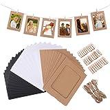 VORCOOL 30pcs Kraft Papier Cadres Photo Suspendus Décoration Murale DIY avec Clips Cordes pour Photos 4x6in