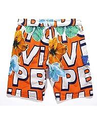 PZLL Algodón ocio playa pantalones cortos de los hombres en verano, Europa, impresión pantalones cortos sueltos secado rápido , orange , xxl