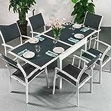 Ruby | extensible 180cm mesa y 6sillas juego de muebles de exterior, aluminio, Blanco y gris, Milly Chairs
