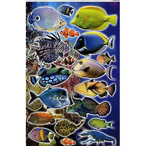 Pesci, animali divertenti adesivi, foglio con adesivi
