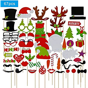 Lictin 67 Pcs New Year Christmas Photo Booth Props Accessories Funny DIY