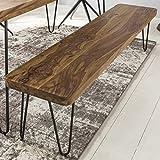 FineBuy Massive Sitzbank 180 x 40 cm Harlem Sheesham Holz Bank für Esstisch Massiv | Küchenbank Massivholz | Essbank ohne Lehne für Esszimmer