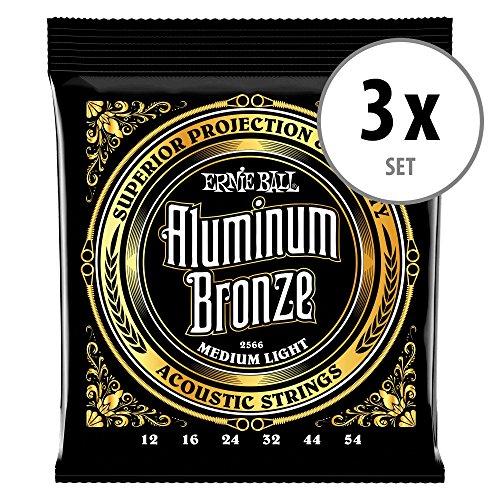 3er Set Ernie Ball 2566 Aluminum Bronze Medium Light Saiten - Bronze Medium Light