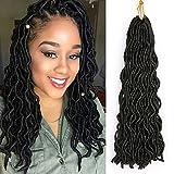 "6Pcs/Lot Curly Faux Locs Crochet Hair Wavy Synthetic Braiding Hair Extension Fauxlocs Braids Mambo Twist Dreadlocks Crochet Braids (20"",#1B Color)"