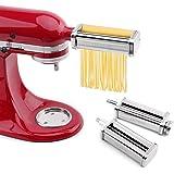 aikeec Rouleau de pâtes et accessoire de coupe Ensemble 3 en 1 pour batteurs sur socle Kitchen Aid, 5KSMPRA Set Composé Machi