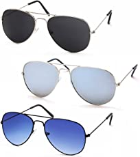 Stacle Premium Flash Mirrored Aviator Sunglasses for Men and Women (Single, Combo Pack of 2 and 3) (ST5203)