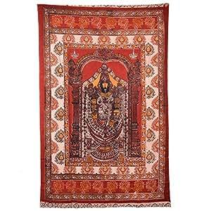 Ganesh Group Lord Venakateswara Kalamkari Door Curtain - Brown