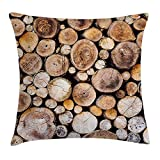 Rustic Throw Pillow Cushion Cover, Wooden Logs Background Circular Shaped Oak Tree Life and Growth Theme, Decorative Square Accent Pillow Case, 18 X 18 Inches, Light and Sand Brown
