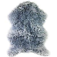 Tapis en peau de mouton synthétique et fausse fourrure de luxe à poil long, 60cm x 90cm (Gris)