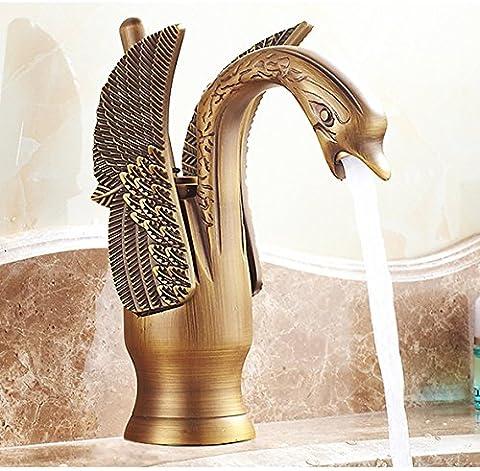 Ouecc Shang Vogel Künstlerische Wasserhahn Bad Waschbecken Toilette Vessel Sink Mixer Heiß Kalt Wasser Einzigen Griff Messing Gebürstet Ventil Tippen