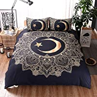 STEELEMENT 3D Duvet Cover Set with 2 Pillowcases Moon Stars Quilt Bedding Set