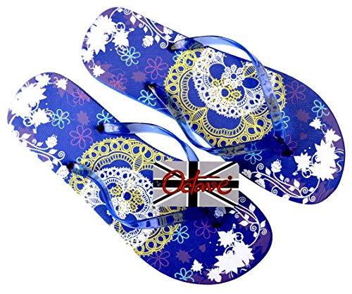 Octave® - Infradito da donna per l'estate e la spiaggia, diversi stili e colori Lace Design - Blue