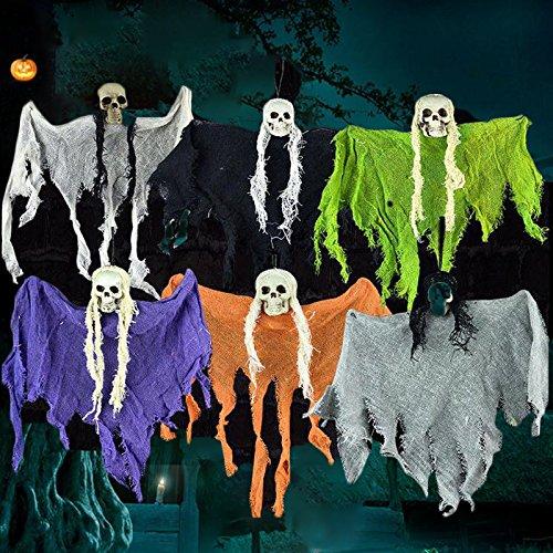 Kicode Furchtsam Haunted Halloween Requisiten Hängend Schädel Skelett Geist Tuch Haus Party Dekoration Dekor zufällige Farbe