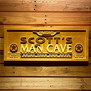 AdvPro Wood Custom wpa0054 Name Personalized Man Cave Wooden 3D Engraved Sign Custom Gift Craved Bar Beer Home Décor Lake House Plaques Game Room Den Wood Signs - Standard 58.5 cm x 23.4 cm