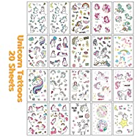 VCOSTORE Unicorn Temporary Tattoos for Kids, 250 Styles Non Toxic Waterproof Unicorn Sticker for Girls Birthday Party