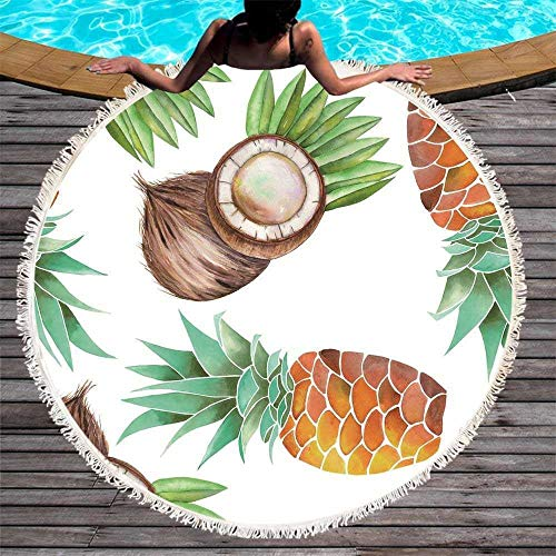 GOLDT1 Teppich, Kaktus Runde Strandtuch drucken Ananas Fitness Yoga Decke Mauspad, gesäumt Picknick Mikrofasermatte 150 cm (Color : 3, Size : 150CM)