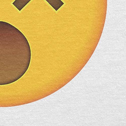 TEXLAB - Dizzy Face Emoji - Herren Langarm T-Shirt Weiß