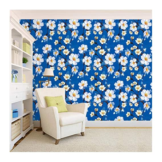 100Yellow? Floral Pattern Self Adhesive Peel And Stick Waterproof Wallpaper (Pvc Vinyl; Multicolour; 44 Sqft)