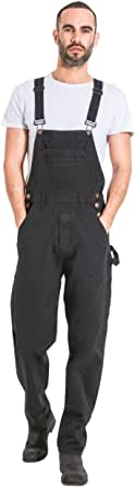 Wash Clothing Company Mens Relaxed Fit Denim Dungarees - Black Value Bib Overalls 30-40W MADDOXBLK
