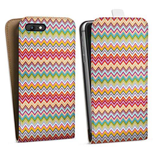 Apple iPhone X Silikon Hülle Case Schutzhülle Azteken Zickzack Bunt Muster Downflip Tasche weiß