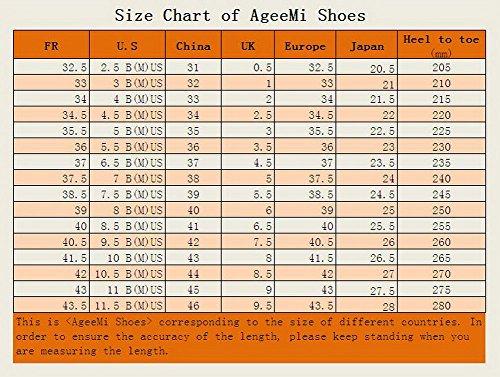 AgeeMi Shoes Femme Matière Souple Stylet Pointu Couleur Unie Chaussures Légeres Rouge-Verni