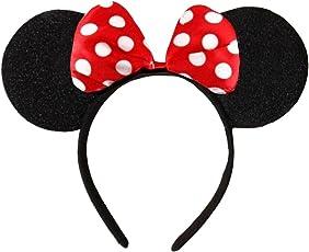 (Minnie Mouse Alice Ears) Schwarz mit Rot oder Rosa u.Weiße Tupfen Satin Bogen Minnie Mouse Disney Kostümgeschäfte Haarband