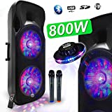 Enceinte Sono DJ PA Mobile Party Batterie Karaoké 2x15' 1000W USB/BT/SD/F RADIO FM + 2 Micros VHF Effet Friztal MyDJ BOXER-215LED-MAGIC + OVNI