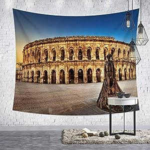 DWOMESA Europäische Und Amerikanische Wind City Nightscape-Tapisserie Schlosslandschafts-Dekorationsplane Dekostoff Für Heimtextilien Fotowand-Hintergrundstoff 230 * 150Cm_B3-33