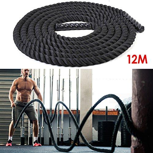 Amzdeal Battle Rope Trainingsseil 9/12/15MΦ3.8cm Sportseil Funktionelles Schwungseil für Fitnessstudio und Muskelaufbau Usw. FitnessTraining (12M)