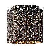 Paralume in metallo da soffitto di stile marocchino, color marrone cioccolato, interno oro