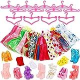 Lictin 36pcs Bekleidung & Schuhe für Minipuppen, 12 Kleider 12 Paare Schuhe und 12 Kleiderbügel, Bekleidungszubehör für Barbie Puppen